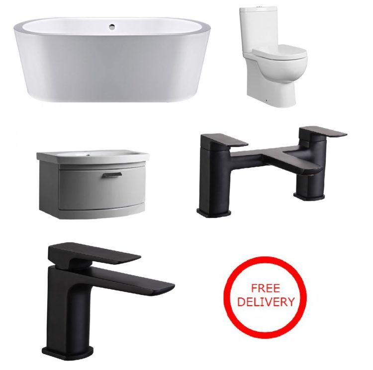 Modern Bathroom Package including Freestanding Bath, Black Taps and Wall Hung Vanity Unit as well as Back to the Wall Toilet